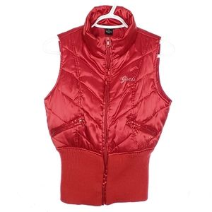 GUESS Red Puffer Vest Shiny Pockets Quilted Fitted